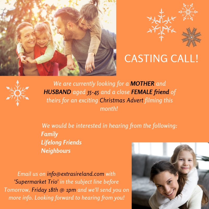 CASTING CLOSED – Parents who are Friends for a Christmas Supermarket Advert!!