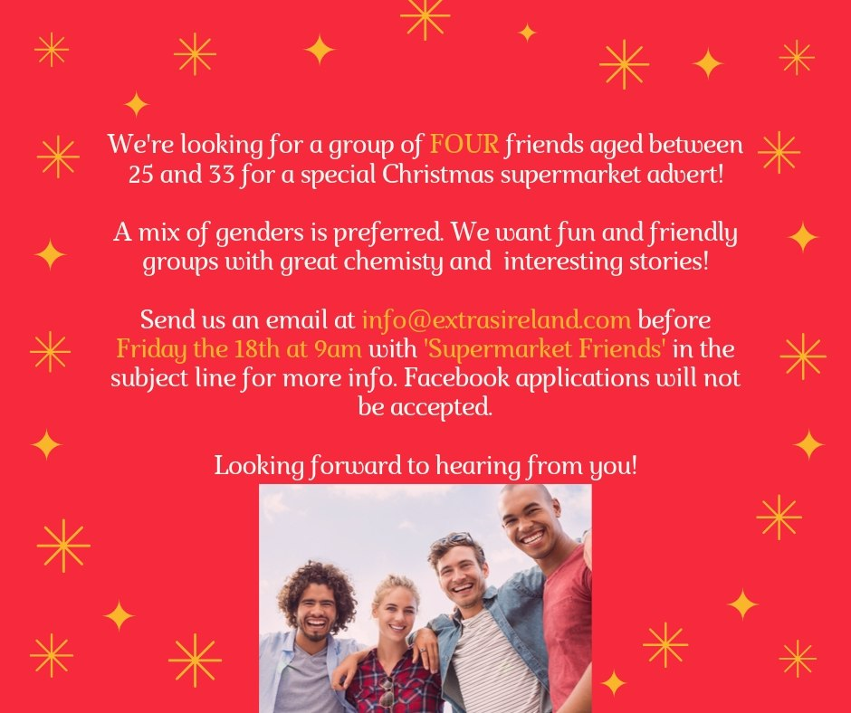 CASTING CLOSED – Group of Friends for Christmas 2019 Supermarket Advert!