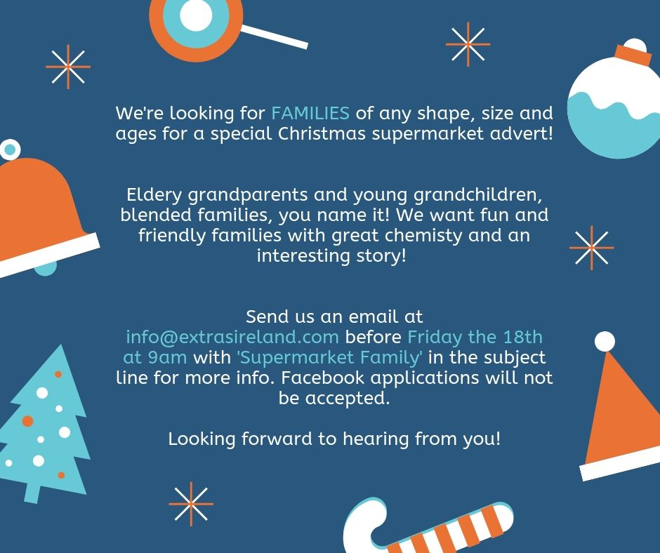 CASTING CLOSED – Families for 2019 Christmas Supermarket Advert